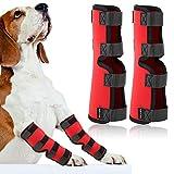 Pangding Abrazaderas para piernas de Mascotas, Protector de la Envoltura de la articulación del Vendaje del Vendaje para Lesiones en Las piernas traseras para Cachorros de Perros y Gatos(S-Rojo)
