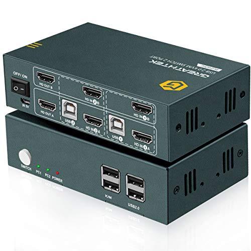 HDMI KVM Switch Dual Monitor 2 Puertos,4K @ 60Hz,4 USB 2.0, Conmutador HDMI 2.0,HDCP2.2, Con 4 Cables HDMI y 2 Cables USB, Conmutador KVM,Button Switch