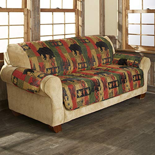 The Lakeside Collection Dakota Lodge Diamond Quilted Sofa Cover with Woodland and Animal Accents