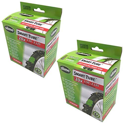 Slime Smart Tube 20 X 150 2125 Self Healing Bike Inner Tubes Schrader Valve Pair