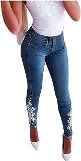 Aogo, leggings da donna a vita alta, elasticizzati, con stampa a applicazioni, skinny e slim