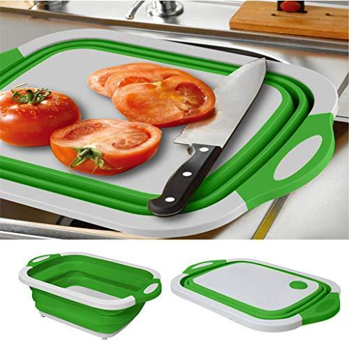 Rameng Planche à Découper Pliante Multifonctionnelle Bac à Légumes avec Panier de Vidange Planche Pliante évier 3-en-1 Planche à Découper de Camping, Pique-Nique, Barbecue, Cuisine (Vert 1PC)