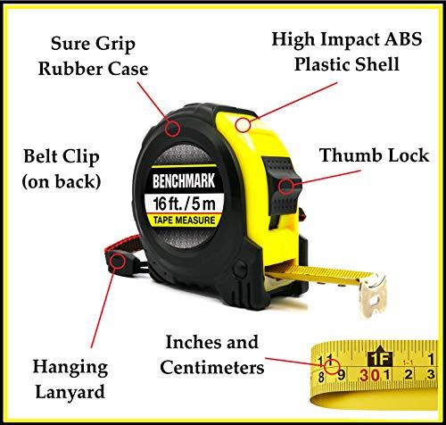 Benchmark HG Series 16 Foot Tape Measure - Measuring Tapes - 4 PACK - Bulk
