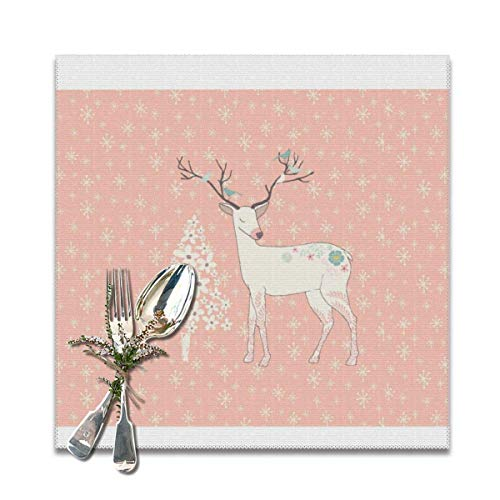 Beautiful Reindeer And Snowflakes Pink Placemats for Dining Table Washable Placemat Set of 6, 12x12 Inch
