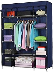 Chests YSJ LTD 5 Layer 12 Compartment Non-Woven Wardrobe Portable Wardrobe Navy Blue Simple Design Combined with Any Home Decoration