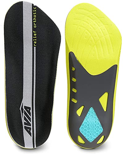 AVIA 3/4 Length Plantar Fasciitis Orthotic All-Day Relief Shoe Insoles (Men's 8-12) Memory Foam – Designed to Relieve Heel Pain - All Day Comfort and Arch Support, Lime