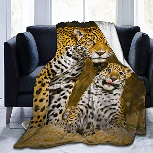 RROOT Root schöne Decke mit Eulenmotiv, Flanell-Fleece, 127 x 152 cm, Wohnzimmer/Schlafzimmer/Sofa, warme weiche Bettdecke für Kinder und Erwachsene, alle Jahreszeiten, Leopard, 20.99