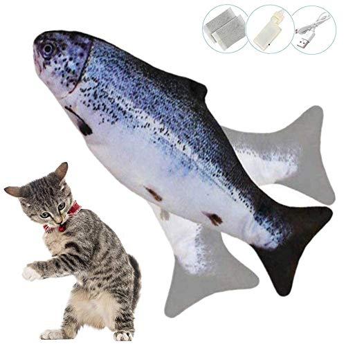 Zibnwee Elektrische Simulation Fischkatze, USB Elektrische Plüsch Fisch Kicker Katzenspielzeug mit Katzenminze, Interaktives Katzenspielzeug zu Spielen, Beißen, Kauen und Treten
