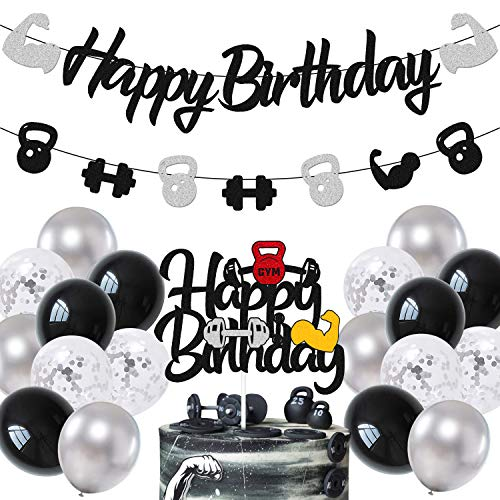Gym Birthday Decorations Weightlifting Happy Birthday Banner Cake Topper Black Gray Latex Balloons for Gym Weight Lifting Cross Fit Fitness Themed Bday Party Supplies