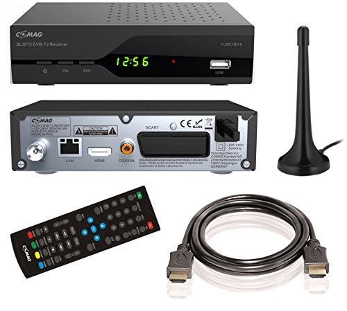 COMAG SL30T2 FullHD HEVC DVBT/T2 Receiver (H.265, HDTV, HDMI, SCART, Mediaplayer, PVR Ready, USB 2.0) inkl. DVB-T2 Antenne + HDMI-Kabel