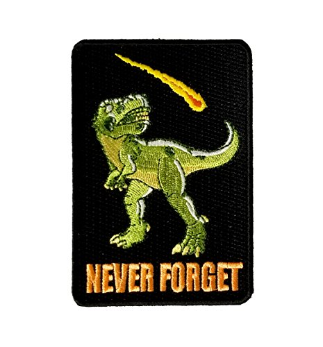 'Dinosaur Never Forget' Asteroid & Tyrannosaurus Rex Humor - Iron on Embroidered Patch Applique - Gifts For Him, For Her, For Boys, For Girls, For Husband, For Wife, For Them, For Men, For Women,