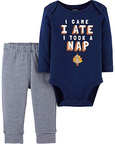 Carter's I Came, I Ate, I Took A Nap Set 2-Piece Cotton Long Sleeve Bodysuit Pant Set Newborn, Navy