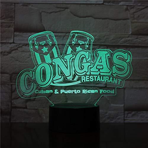 3D Lampe Congas Restaurant Schöne Geschenk Kinder Wohnzimmer Dekoration Atmosphäre LED Nachtlicht Lampe