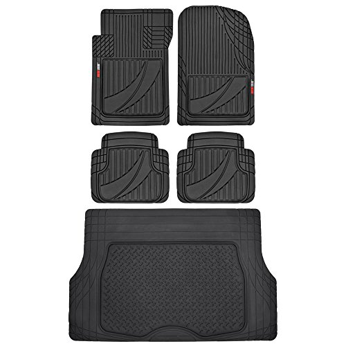 FlexTough Advanced Performance Liners - 5pc HD Rubber Floor Mats & Cargo Liner for Car SUV Auto (Black)