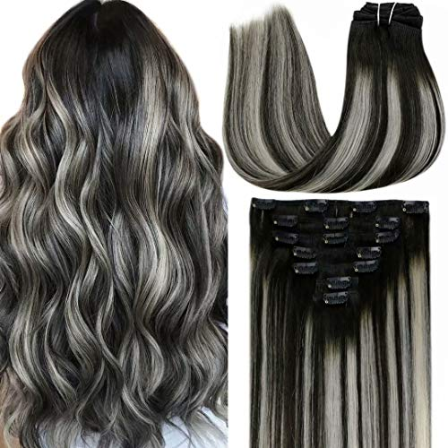 "LaaVoo Remy Hair Extensions Clip in Human Hair Black Hair Extensions Clip in Ombre Off Black Fading to Silver Grey Mixed Black Human Hair Extensions Clip in Double Weft 20"" 7pcs/120gram"