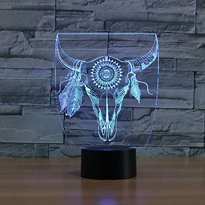 Mozhate 3D Led Interessante Abstrakte Ochsenkopf Modell Tischlampe Verziert Jungen Schlafzimmer Nachtlicht Für Wohnzimmer Beleuchtung,Remote und berühren