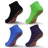 ELUTONG Antirutsch Socken Kinder Jungen Mädchen - 4 Paar Baumwolle Kindersocken für Kleinkind...