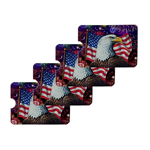 Eagle Patriotic 4th of July Celebration American Flag Fireworks Credit Card RFID Blocker Holder Protector Wallet Purse Sleeves Set of 4