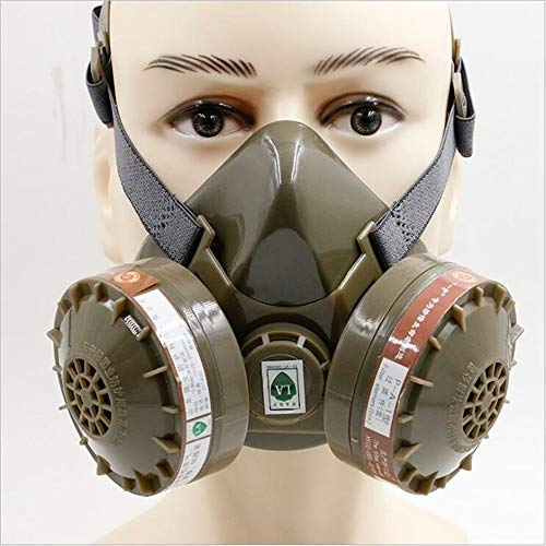 Respirador Con Mascarilla AntigáS, Cartucho De CarbóN Activado Con 2 VáLvulas De RespiracióN, Pesticida De ProteccióN Respiratoria De Media MáScara, Producto QuíMico, Olor