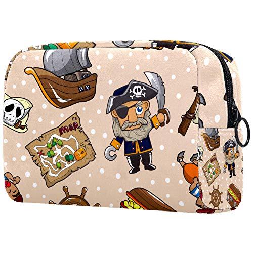AITAI Bolsa de maquillaje grande para viaje, organizador de cosméticos, diseño de barco pirata, timón, brújula, mapa de tesoros