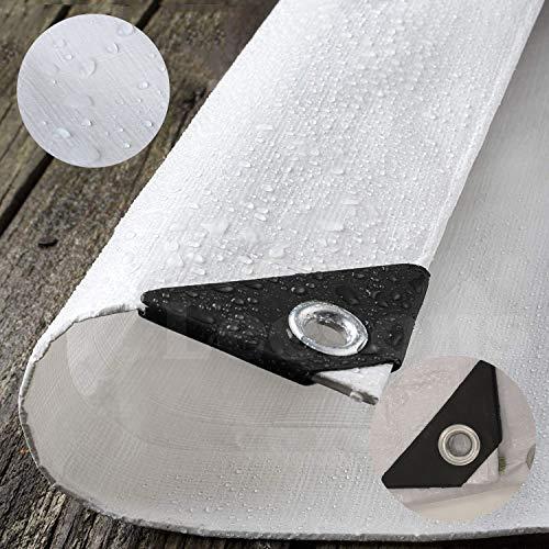 SOVIYAS Lona de alta resistencia Lona gruesos 4 mx 6 m 13 pies x 19 pies (4 x 6 m, 130 g/m²) Lona de PE Lona blanca impermeable Impermeable Lona de calidad superior para acampar al aire libre