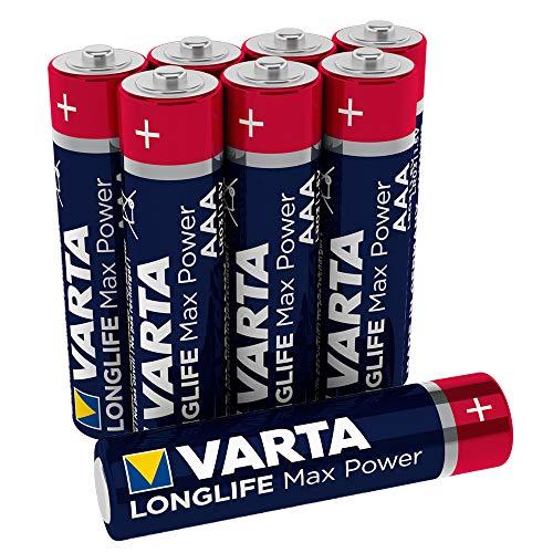 VARTA Longlife Max Power AAA Micro LR03 Batterie (8er Pack) Alkaline Batterien - Made in Germany - ideal für Spielzeug und Alltagsgeräte