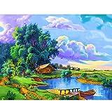 Reofrey 5D DIY pintura de diamante, paisaje, árbol, pintura al óleo, perforación, con brillantes, set de pintura de diamante, para pintar, decoración de pared, 40 x 50 cm, 004
