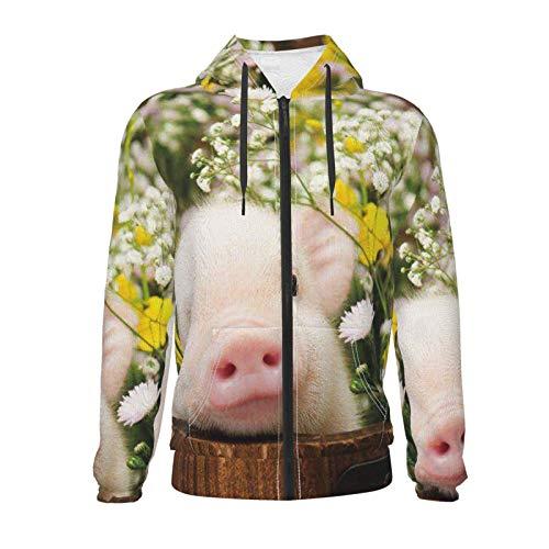 Inaayayi Lindo cerdo bebé flores adolescentes niños niñas manga larga suéter sudaderas con capucha con bolsillo 7-20 años