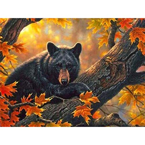 DIY Diamond Painting, Crystal Rhinestone Diamond Embroidery Pictures Arts Craft for Home Wall Decor Black Bear on Maple 15.7x11.8 in By Bemaystar