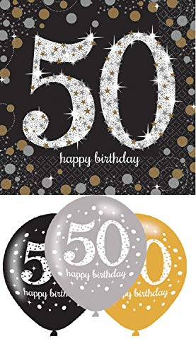Eventausstattung24 Partyset zum 50ten Geburtstag / Servietten 50 + Luftballons 50 in den Fraben schwarz/Gold