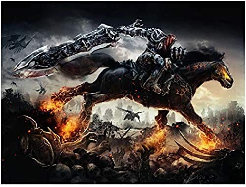 Rzhss Darksiders War Rides 2 Game Posters And Prints Wall Art Canvas Painting For Living Room Home Decor Artwork -24X36 Inch No Frame