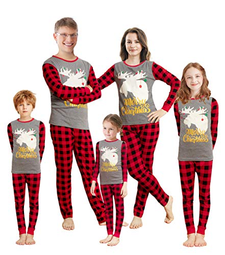 Family Feeling Adult Mens Holiday Christmas Glow in the dark Moose Reindeer Plaid Matching Family Pajamas Sets Long Sleeve Kids Pjs Grey Size XL