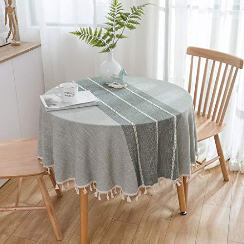 Xlabor Mantel redondo de algodón y lino, de fácil cuidado, para jardín, habitación, decoración de mesa, color gris, diámetro 150 cm