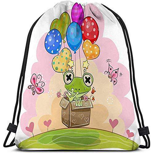 BOUIA Gym Trekkoord Tassen Zak Schattige Kikker Ballonnen Cartoon Doos Vliegende Positieve