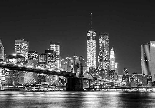 Fotobehang Fotobehang Manhattan Skyline en Brooklyn Bridge Muurschildering, verwijderbaar decor Zelfklevende muurstickers-430x300cm(169.3by118.1in)