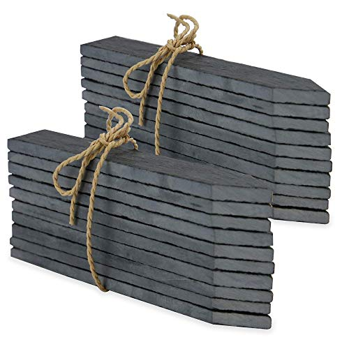Set of 20 Slate Garden Markers & Chalk | Garden Plant Labels | Herb Markers | Greenhouse Accessories | Garden Stakes | Outdoor Chalkboard | M&W