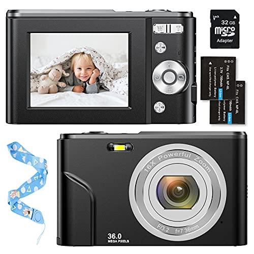 Fotocamera digitale 1080P HD compatta 36 Megapixel Mini Videocamera digitale 2,4' LCD ricaricabile con zoom digitale 16X per studenti, adulti, bambini, principianti, colore: nero