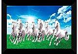 SAF 7 Horses Nature Framed UV Coated Digital Reprint Painting (11 x 14 inch, Multicolour) SANFKH10