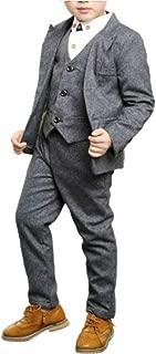 Boys Suit Set Formal Slim Fit Dresswear 4 Piece Vest and Pants Suit