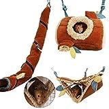 Homeriy 3pcs Hamster Hamster Hamster Colgante Cama de Lana Juega Túnel Accesorios para Hedgehog Guinea Pig