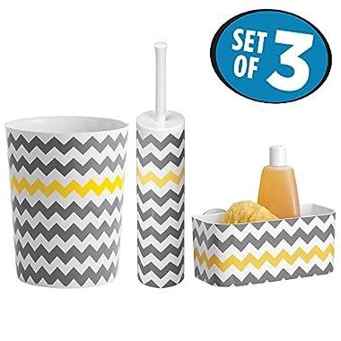 mDesign Bath Accessory Set, Suction Shower Basket, Toilet Bowl Brush and Holder, Wastebasket Trash Can - Set of 3, Gray/Yellow