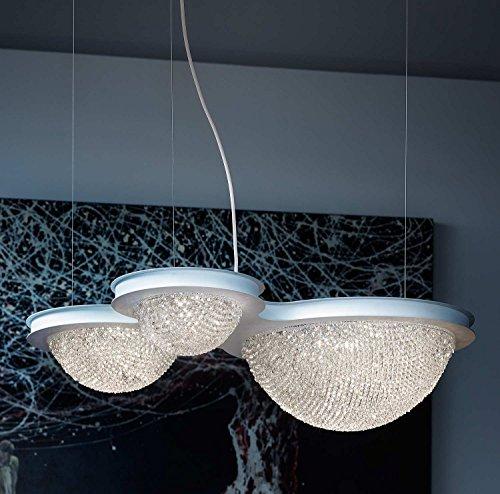 Bool Kristall Esstischleuchte Hängeleuchte Masiero-Leuchten in Weiß weiß transparent | Handgefertigt in Italien | Pendelleuchte Modern Dimmbar | Lampe LED