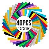 Opopark 40 PCS Vinyle de Transfert de Chaleur Multicouleur Film de Transfert Thermocollant de Lettrage Permanent HTV Film de Transfert de Saint-Valentin pour Chemises Tissus DIY 30 x 25cm