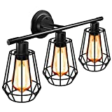 Industrial Bathroom Vanity Light Fixtures, 3-Light Farmhouse Wall Sconce Lights with Metal Cage, Vintage Black Vanity Lights with E26 Base, for Bathroom Mirror Cabinet, Dressing Table, Kitchen, Living