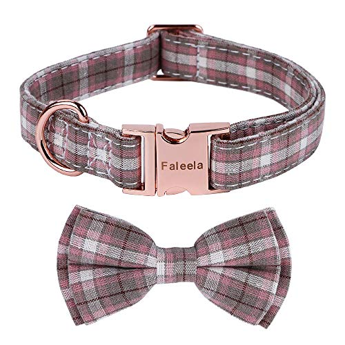 Faleela Dog Collar with Bow, Cotton & Webbing,Classic Plaid, Adjustable Dog Collars for Small Medium Large Dogs (S, Light Purple)