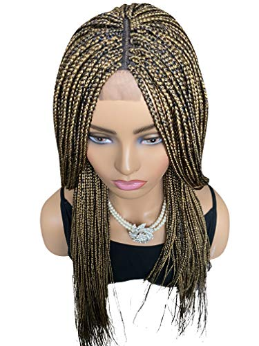 JBG SERVICES Micro Braided Wigs - Handmade Box Braiding Wigs for African American Women - Synthetic Braids With Lace Closure Finishing For Natural-Look - Color Deep Blue/27 Mixed 22 inch