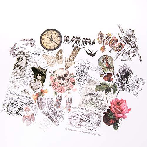Alideco レトロステッカーフレークテッカーセット、 DIY 手作り ステッカー 日記 クラフト粘着 ?ノートステッカー ヴィンテージの花、植物、動物 女の子(60片)スクラップブッキング、カレンダー、アルバム、ジャーナル、プランナーアジェンダクラフト