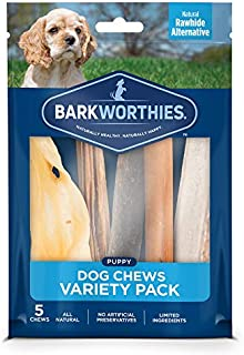 Barkworthies Healthy Dog Treats & Chews Puppy Dog Variety Pack (5 Chews) - Protein-Rich, All-Natural, Highly Digestible, Rawhide Alternative - Promotes Dental Health - Great Gift for All Dogs