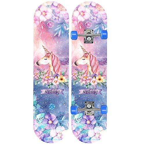 KHSKX Anfänger Skateboard-Erwachsene Skateboard-Profi-Roller geeignet für Jungen, Mädchen, Jugendliche-Einhorn 70 * 20cm-Kinder