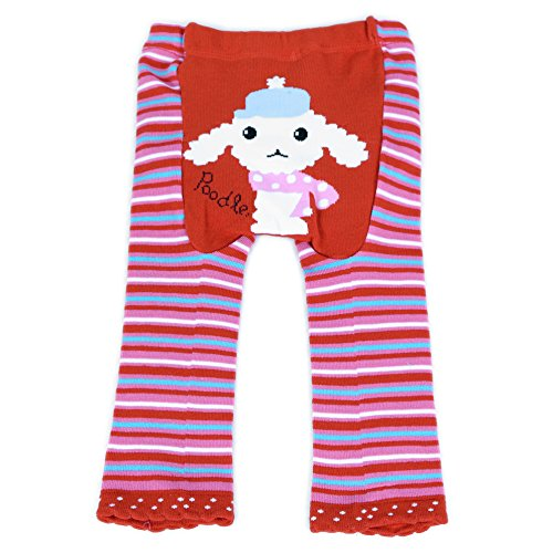 Dotty Fish Baby und Kleinkind Strickleggings. Leggings für Mädchen. Rote und rosa Streifen mit Pudel. Klein (6-12 Monate)